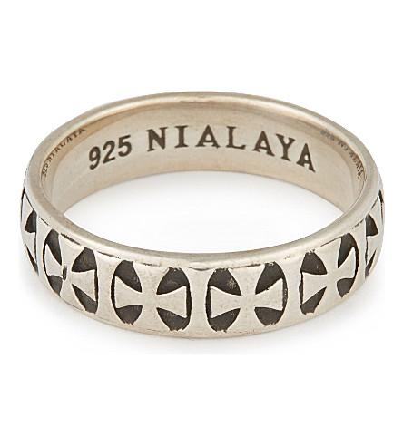 NIALAYA Iron cross ring (Silver