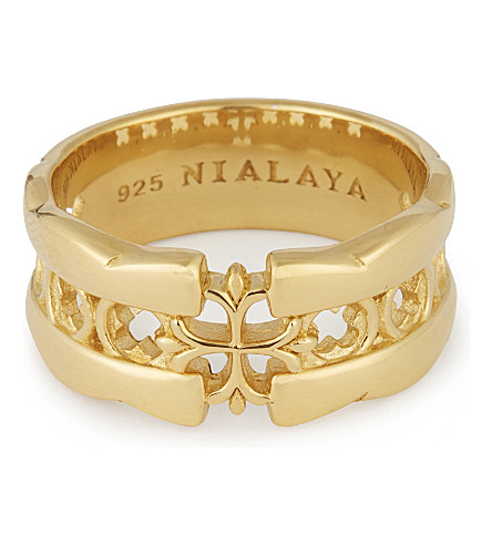 NIALAYA Cut-out cross ring (Gold