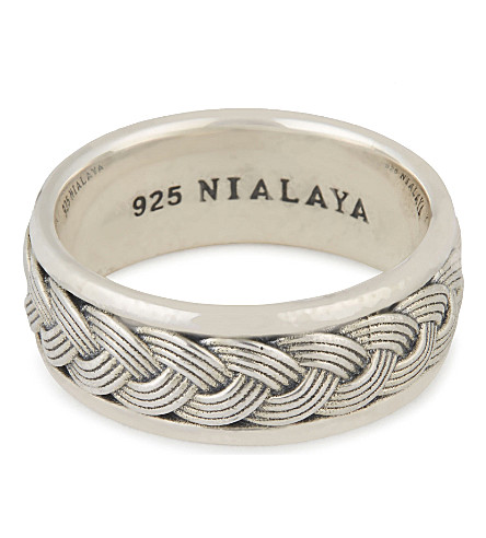 NIALAYA Woven cable ring (Silver