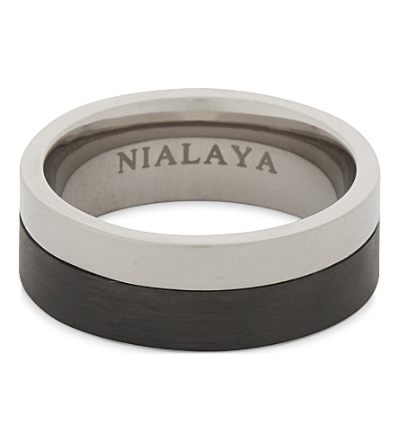 NIALAYA Titanium and carbon ring (Silver+black