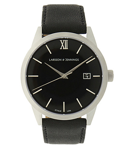 LARSSON & JENNINGS Saxon 39mm stainless steel and leather watch (Silver