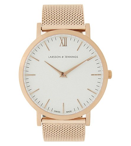 LARSSON & JENNINGS Lugano stainless steel watch (Matte+rose+gold