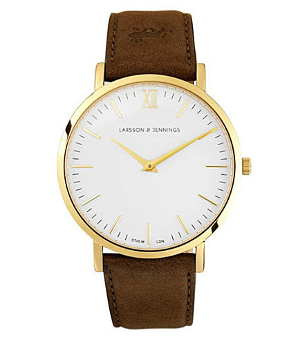 LARSSON & JENNINGS Lader Brown gold-plated and leather watch (Brown