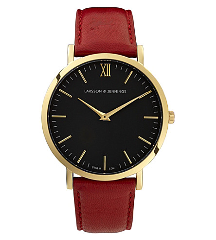 LARSSON & JENNINGS LJWLREDGB lader gold-plated stainless steel and leather watch (Red