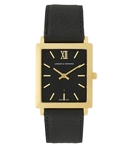 LARSSON & JENNINGS Gold and leather watch (Matte+gold