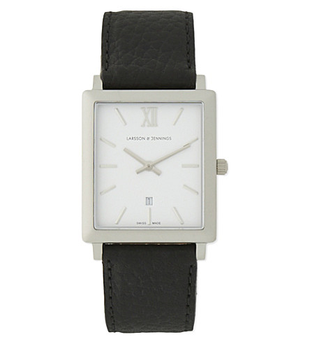 LARSSON & JENNINGS Stainless steel and leather watch (Matte+silver