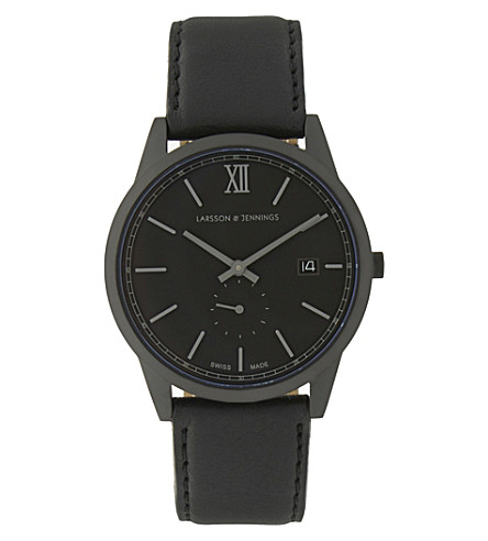 LARSSON & JENNINGS Saxon stainless steel and leather watch (Pvd+black