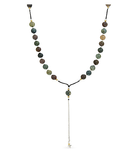 BLACK DAKINI Moss agate rosary necklace (Multicolour