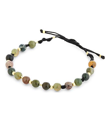 BLACK DAKINI Moss agate braided bracelet (Multicolour