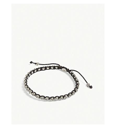 M. COHEN Silver skull woven bracelet (Black