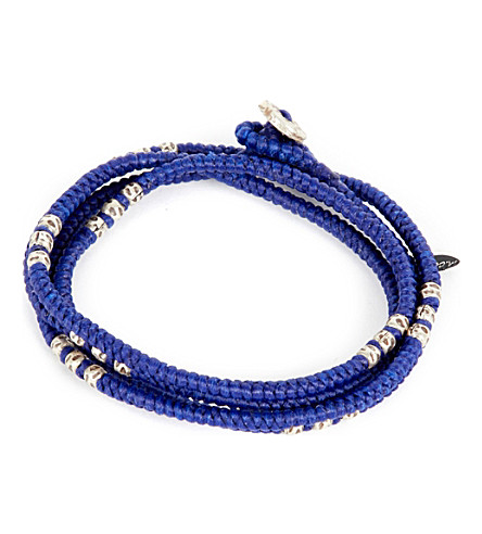 M. COHEN Four layer knotted wrap bead bracelet (Blue