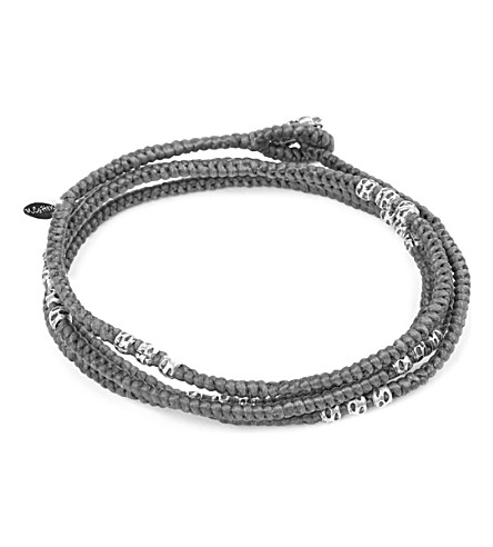 M. COHEN Knotted 4 layer Thai Stamp Wrap Bracelet (Grey