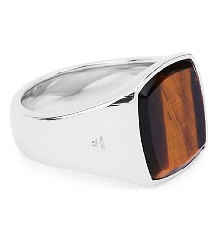 TOM WOOD Cushion silver and tiger eye ring (Multi