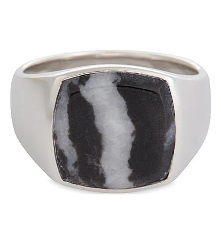 TOM WOOD Silver signet ring (Black