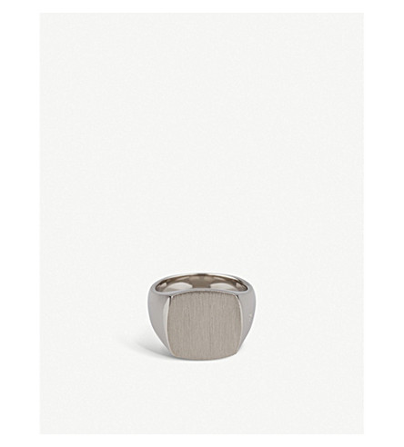 TOM WOOD Cushion satin-plated sterling silver ring (Silver
