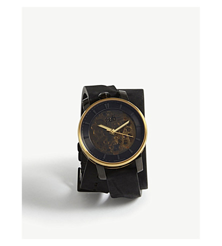 FOB PARIS Rehab 360 suede and stainless steel watch (Gold