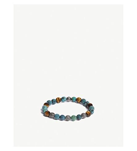 NIALAYA巴厘岛绿松石, 虎眼和印度银珠手链 (Turq + 多