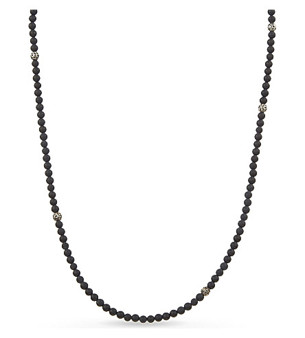 NIALAYA Matter onyx and silver beaded necklace (Black+silver