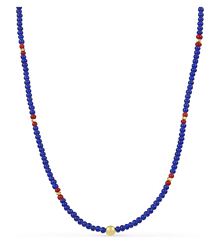 NIALAYA Beaded glass and 18ct gold-plated necklace (Red+blue+gold