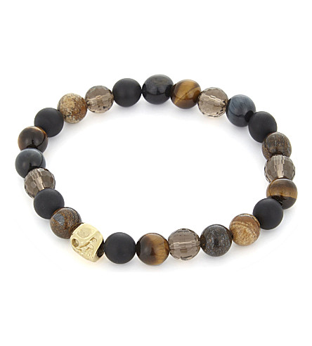 NIALAYA Multi-coloured bead and 18ct gold-plated skull bracelet (Tiger+eye+gold