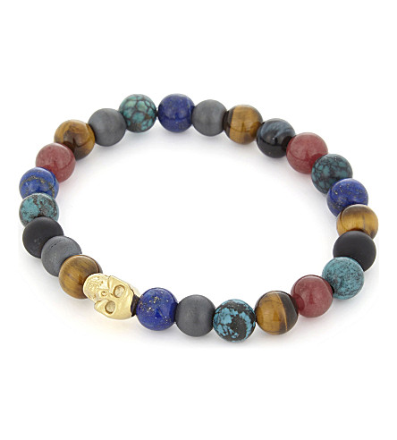 NIALAYA Multi-coloured bead and 18ct gold-plated skull bracelet (Multi+gold