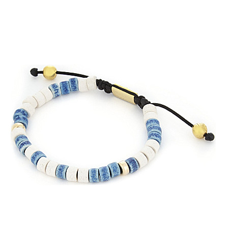 NIALAYA Ceramic bead bracelet (Blue+white
