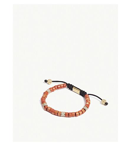 NIALAYA Tulum ceramic and CZ bead bracelet (Red+gold