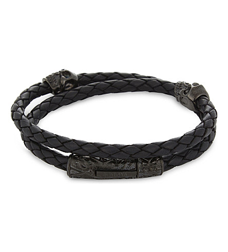 NIALAYA Braided leather skull bracelet (Black+black