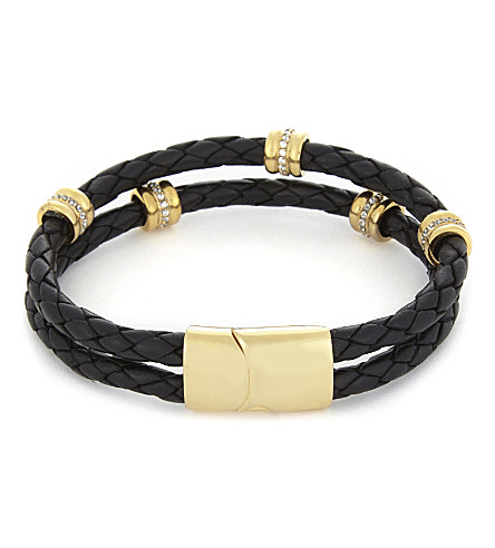 NIALAYA Braided 18ct gold-plated leather bracelet (Black+gold