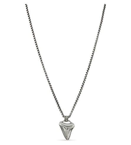 NIALAYA Sterling silver shark tooth pendant necklace (Silver