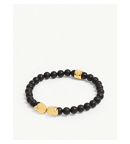 NORTHSKULL MEDIUS ONYX AND GOLD SKULL BRACELET