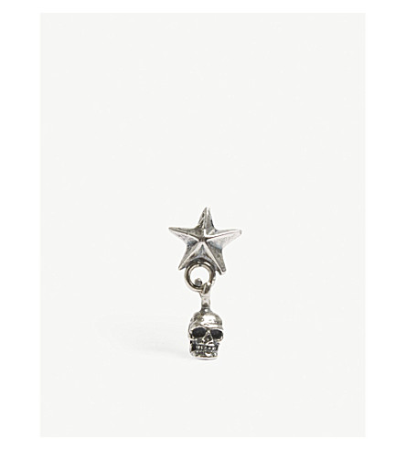 EMANUELE BICOCCHI STAR AND SKULL STERLING SILVER EARRING