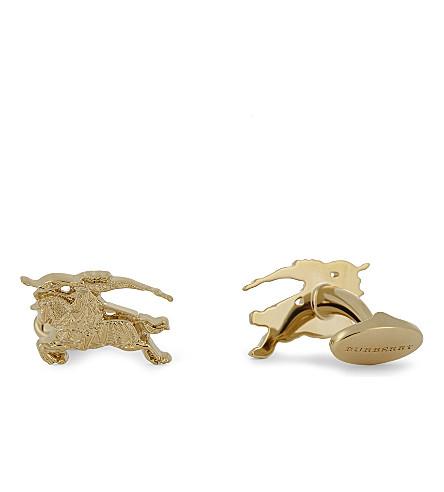 BURBERRY Equestrian knight gold-tone cufflinks (Gold