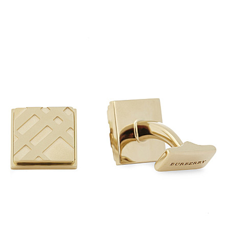 BURBERRY Check embossed square cufflinks (Gold