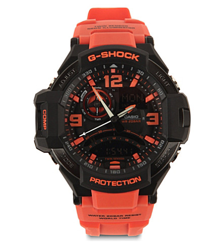 G-SHOCK GW-A1000-4AER G-Aviation Sky Cockpit Gravity Defier watch (Red/+black