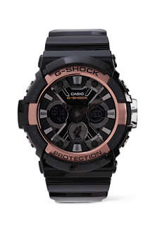 G-SHOCK GA200 black and rose gold watch