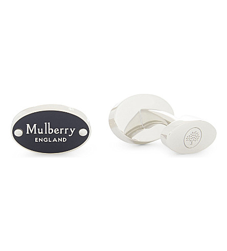 MULBERRY Oval enamel branded cufflinks (Midnight