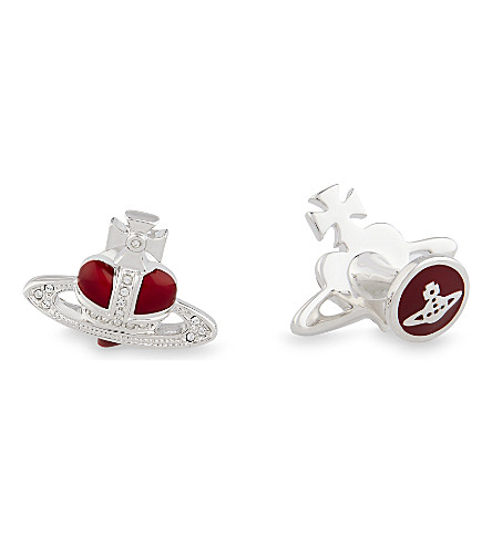 VIVIENNE WESTWOOD Diamante Orb heart cufflinks (Red silver