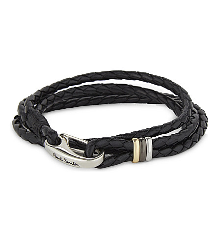 PAUL SMITH ACCESSORIES Leather wrap bracelet (Black