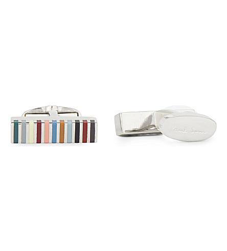 PAUL SMITH ACCESSORIES Rainbow stripe cufflinks (Dark+multi