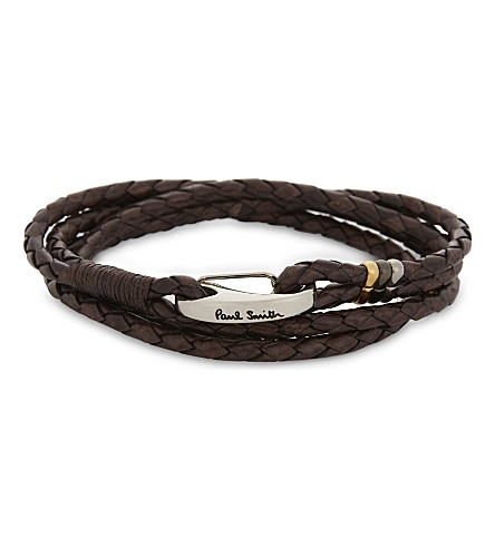 PAUL SMITH ACCESSORIES 编织皮革缠绕手链 (棕色