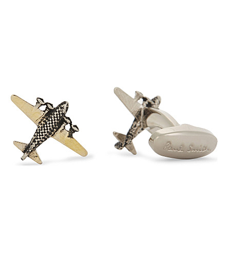 PAUL SMITH ACCESSORIES Aeroplane cufflinks (Silver+brass