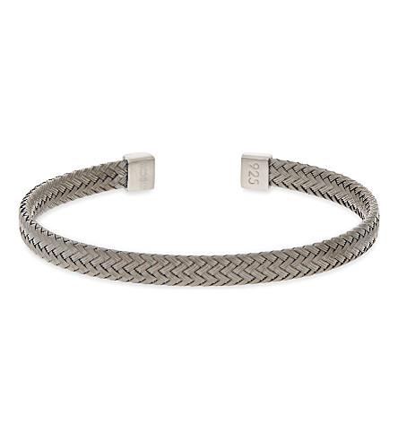 TATEOSSIAN Intrecciato sterling silver bracelet (Black+rhodium