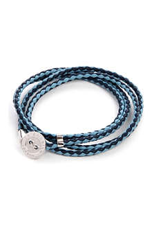 TATEOSSIAN Button-plate plaited-leather braclet