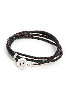 TATEOSSIAN Button-plate plaited leather bracelet
