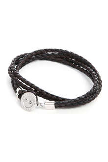 TATEOSSIAN Button-plate plaited-leather bracelet