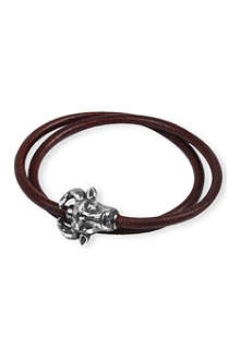 TATEOSSIAN Bull-clasp leather wrap bracelet