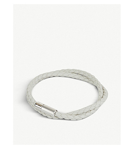 TATEOSSIAN Pop Rigato leather and sterling silver bracelet (White