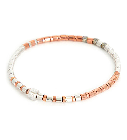 TATEOSSIAN Bamboo sterling silver and rose gold-plated diamond bracelet (Rgold+dia
