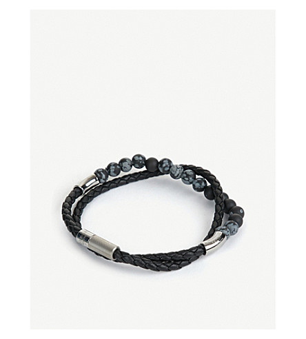 TATEOSSIAN Havana braided leather, sterling silver and beaded bracelet (Black+snowflake+obsidian
